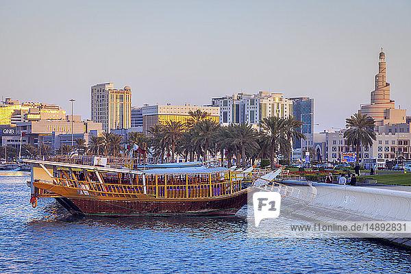 Boat moored by Al Fanar Mosque in Doha  Qatar