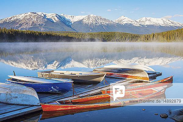 Canoes on Patricia Lake in Jasper National Park  Alberta  Canada