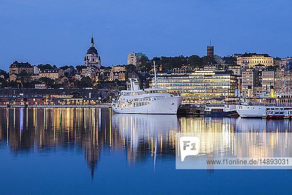 Ship on river at sunset in Stockholm  Sweden