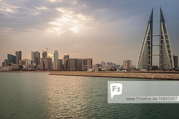 Skyline with Bahrain World Trade Center in Manama  Bahrain