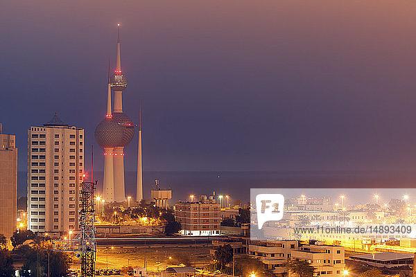 Skyline with Kuwait Towers at night in Kuwait City  Kuwait