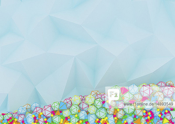 Kontrast zwischen glatter Low poly-Oberfläche und mehrfarbigen Polyedern