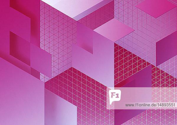 Rosa dreidimensionales geometrisches Muster