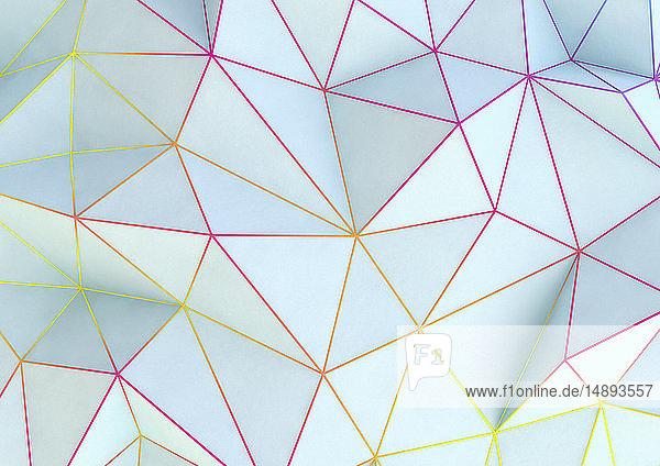 Formatfüllendes mehrfarbiges Dreiecksnetz