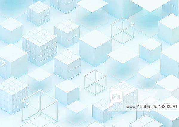 Abstraktes Muster aus festen und transparenten Würfeln