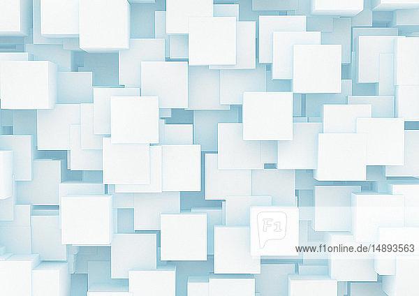 Abstraktes Muster aus vielen sich überlappenden Würfeln