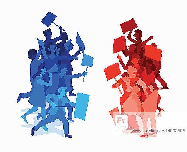 Zusammenstoßende Demonstranten von gegensätzlichen politischen Parteien