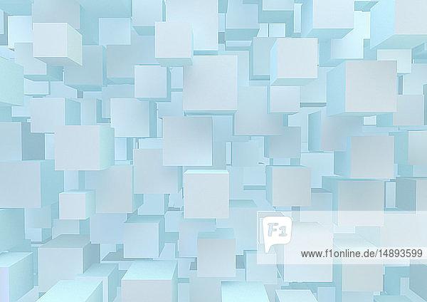 Viele schwebende Würfel in formatfüllendem abstrakten Muster