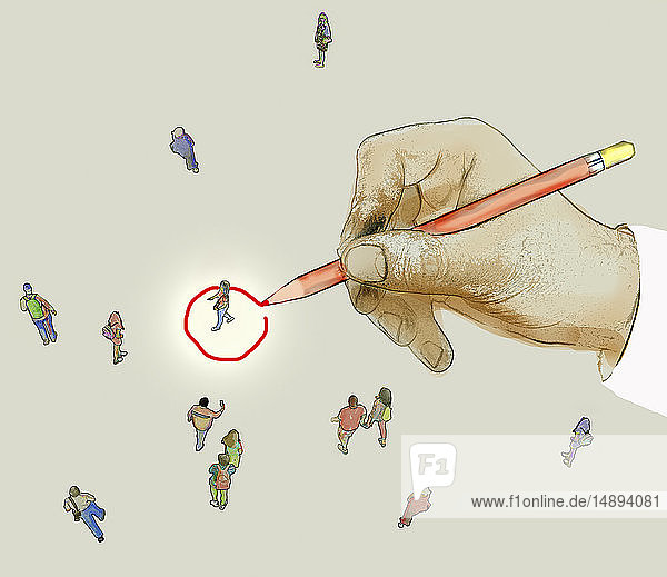 Hand drawing red circle targeting a member of the public