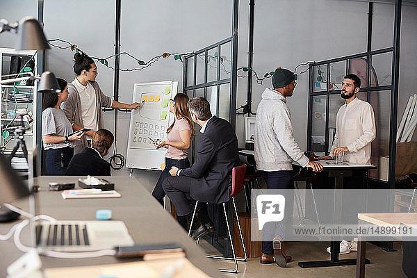 Kreativer Geschäftsmann hält Präsentation während einer Besprechung im Amt