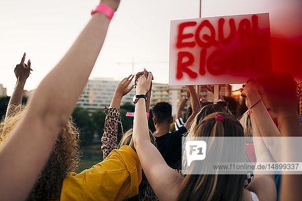 Rückansicht von Freunden  die für gleiche Rechte in der Stadt protestieren