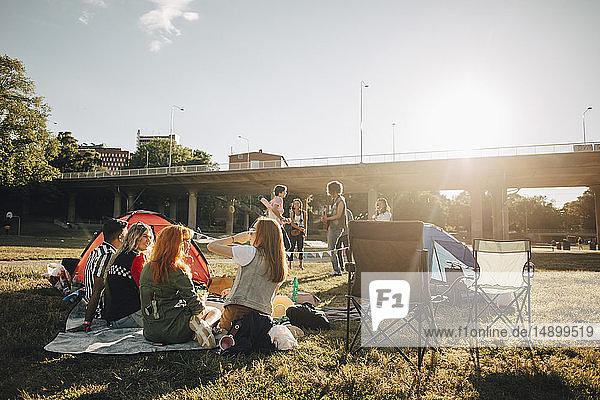 Multi-ethnische Freunde genießen im Sommer ein Musikfestival