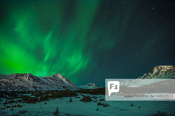 The Northern Lights (Aurora Borealis) are seen over Wolverine Peak in the Chugach State Park on a winter night near Powerline Pass  South-central Alaska; Alaska  United States of America