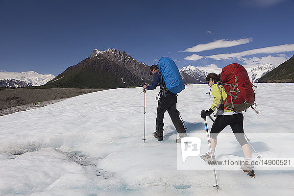 Man and woman backpacking across the Root Glacier with crampons on during summer towards Donoho Peak  Wrangell Mountains  Wrangell-St. Elias National Park  South-central Alaska; Kennicott  Alaska  United States of America