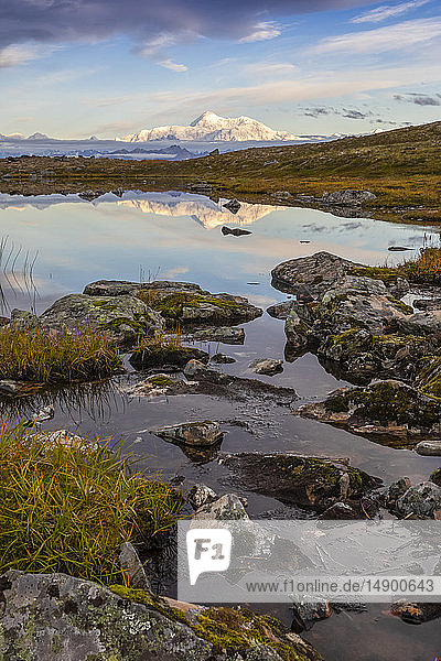 Scenic view of the South side of Denali reflecting in a pond along the Kesugi Ridge Trail  Denali State Park  South-central Alaska; Alaska  United States of America