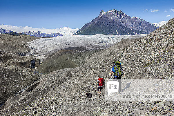 Couple and their dog backpacking on glacial morraine  heading towards the Root Glacier  with Donoho Peak and the Wrangell Mountains in the background  Wrangell-St. Elias National Park  South-central Alaska; Kennicott  Alaska  United States of America