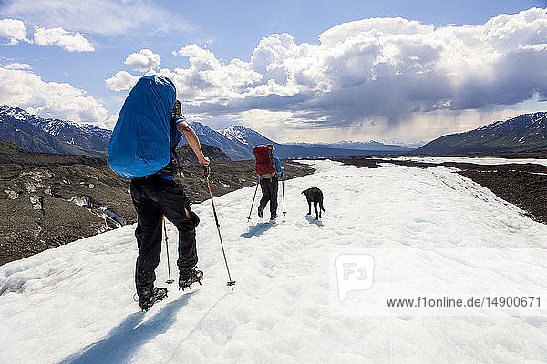 Couple and their dog backpacking on the Kennicott Glacier  Wrangell Mountains  Wrangell-St. Elias National Park  South-central Alaska; Alaska  United States of America