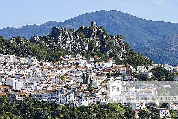 A small town in the Valle del Genal with white houses; Algatocin  Malaga  Spain