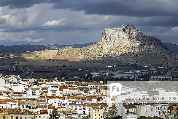 Rugged mountainous formation and houses in the cityscape of Antequera; Antequera  Malaga  Spain