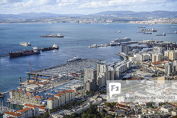 Ships in the harbour and a view of the coastline of Gibraltar; Gibraltar