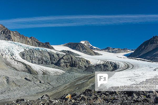 Gulkana Glacier Valley in the Eastern Alaska Range in South-central Alaska on a sunny summer afternoon; Alaska  United States of America