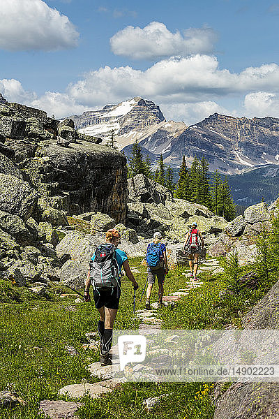 Three female hikers on rocky pathway in a mountain meadow with mountain  blue sky and clouds in the background; British Columbia  Canada