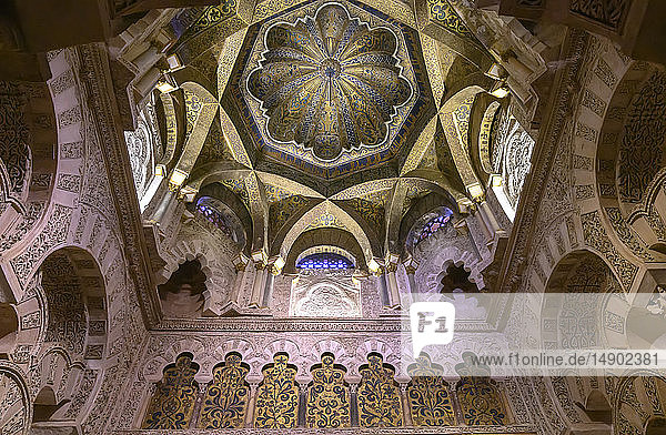 Interior and architectural detail of walls and ceilings in the Mosque-Cathedral of Cordoba; Cordoba  Malaga  Spain