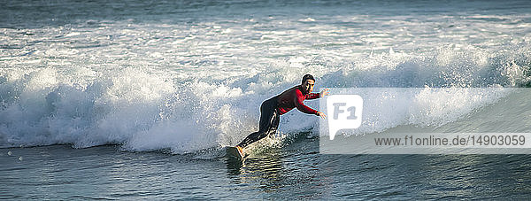Surfing at dusk in Houghton Bay; Wellington  New Zealand