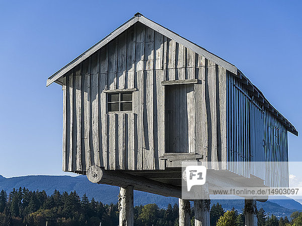 Wooden house on stilts with the Coast mountains in the background; Vancouver  British Columbia  Canada