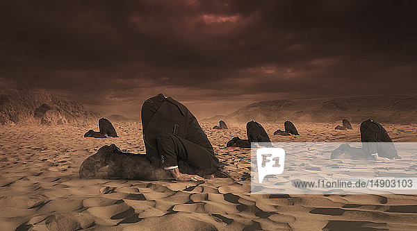 Businessmen hiding their heads in the sand  composite image