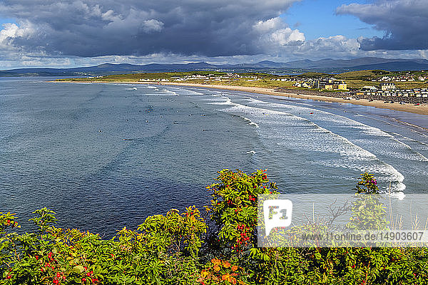 Surfing along the coast of Northern Ireland; Rossnowlagh  County Donegal  Ireland