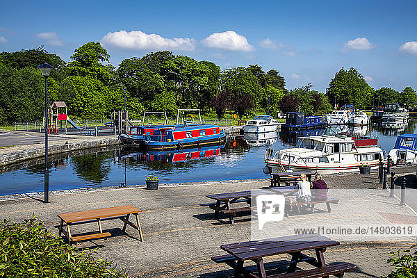 Boats moored in the harbour of Clondra village; Clondra  County Longford  Ireland