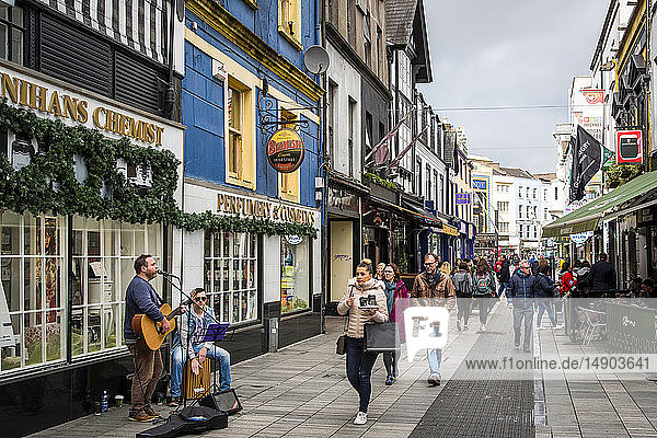 Buskers on a Cork City centre street; Cork City  County. Cork  Ireland