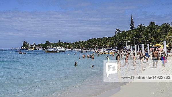 Tourists at West Bay Beach; Roatan  Bay Islands Department  Honduras