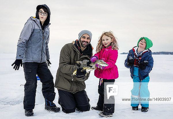 Father and four children showing off their catch before releasing it while ice fishing at Lake Wabamun; Wabamun  Alberta  Canada