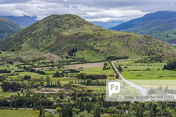 Beautiful Queenstown viewed from the Arrow Junction Lookout Point; Queenstown  South Island  New Zealand
