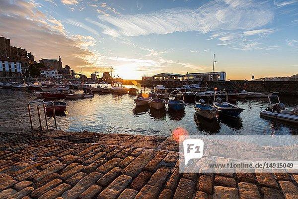 Sunrise in the beautiful port of Castro Urdiales  Cantabria.
