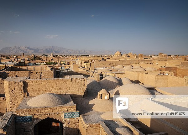 Downtown rootops and landscape view of yazd city old town in iran.