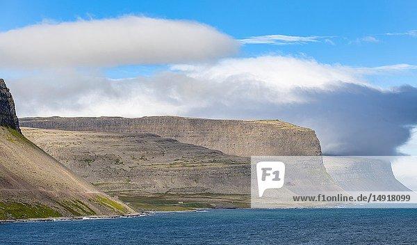 Fjord Patreksfjoerdur near Hnjotur. The remote Westfjords (Vestfirdir) in north west Iceland. Europe  Scandinavia  Iceland.