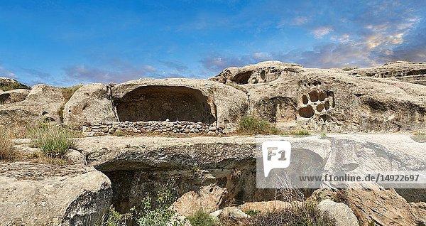 Picture & image of cave dwellings  Uplistsikhe (Lords Fortress) troglodyte cave city  near Gori  Shida Kartli  Georgia. UNESCO World Heritage Tentative List.