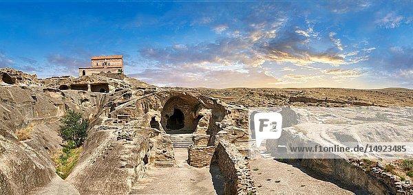 Picture & image of the medieval Christian Basilica  Uplistsikhe (Lords Fortress) troglodyte cave city  near Gori  Shida Kartli  Georgia. UNESCO World Heritage Tentative List.