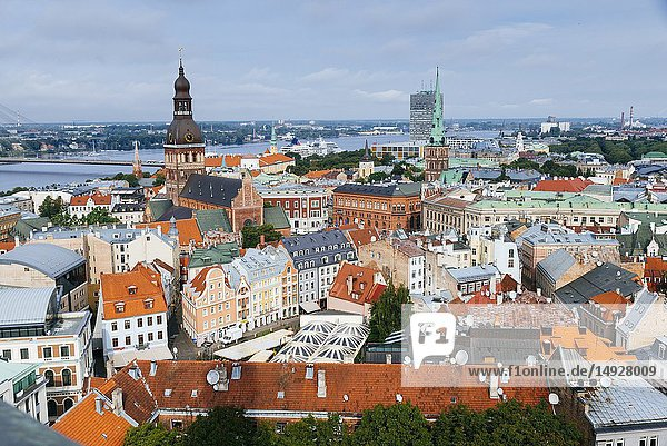 Riga old town from St. Peter's Church. The Riga Dome Cathedral bell tower and St. James's Cathedral spire stand out. Riga  Latvia  Baltic states  Europe.