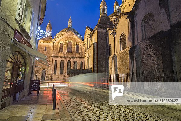 Nightscape in Perigueux  New Aquitaine  Dordogne France on December 7  2018: Perigueux's wonderful Byzantine cathedral by night.