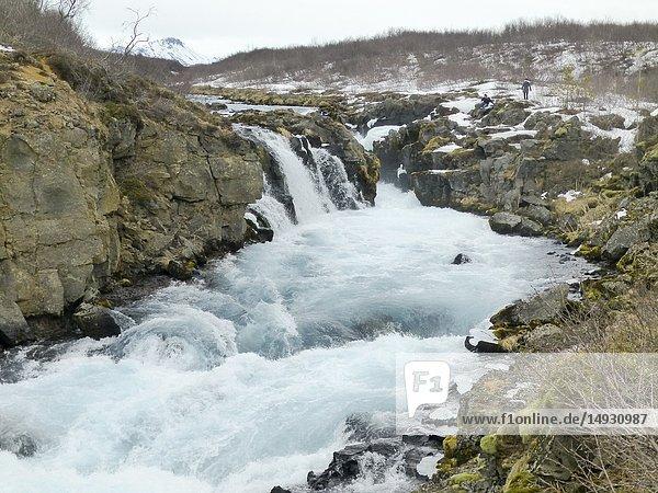 Bruarfoss waterfall Iceland.