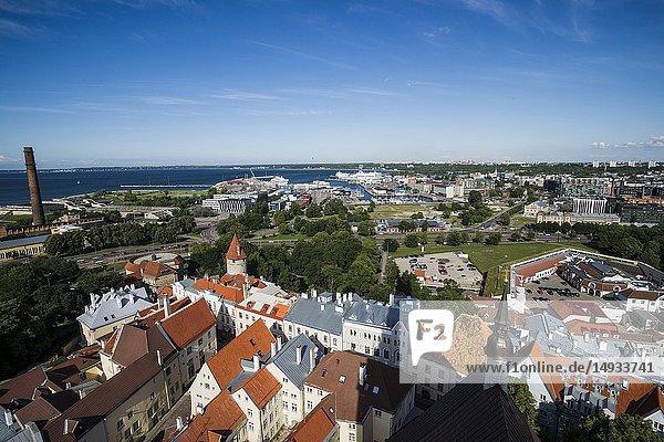 Panoramic view of Tallinn from the tower platform of St. Olaf's Church (Oleviste kirik). Tallinn  Estonia.