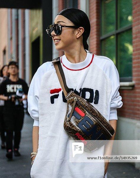 MILAN  Italy- September 20 2018: Yuwei Zhangzou on the street during the Milan Fashion Week.