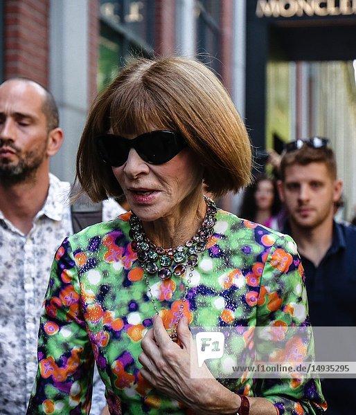 MILAN  Italy- September 20 2018: Anna Wintour on the street during the Milan Fashion Week.