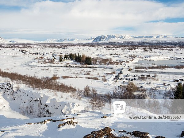 Thingvellir National Park covered in fresh snow in Iceland during winter. Thingvellir is part of UNESCO world heritage. Northern Europe  Scandinavia  Iceland  February.