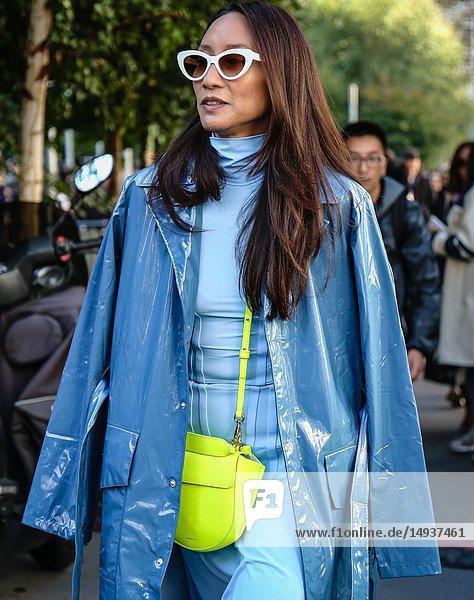 PARIS  France- September 27 2018: Elizabeth Von Der Goltz on the street during the Paris Fashion Week.