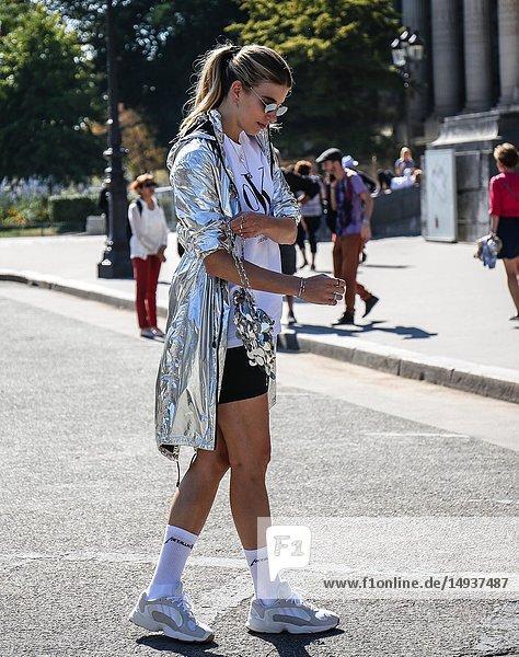 PARIS  France- September 27 2018: Veronika Heilbrunner on the street during the Paris Fashion Week.